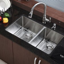 "Stainless Steel 32.75"" x 19.6"" Double Basin Undermount Kitchen Sink with NoiseDefend™ Soundproofing"
