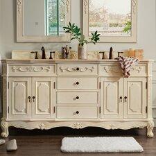 Pennebaker 72 Double Antique White Bathroom Vanity Set by One Allium Way