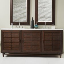 Denton 72 Double Burnished Mahogany Bathroom Vanity Set by Rosecliff Heights