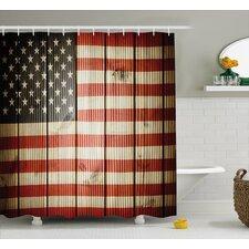 Vertical Striped Flag Decor Shower Curtain