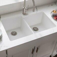 """Quartz Classic 33"""" x 20.5"""" Double Bowl Undermount Kitchen Sink"""