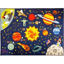 Weranna Outer Space Safari Road Map Educational Learning Blue Indoor/Outdoor Area Rug