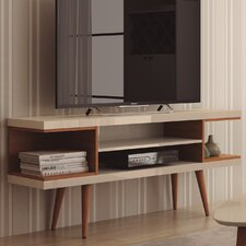 """Lemington 53"""" TV Stand with Splayed Wooden Legs and 4 Shelves"""