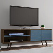 "Lewis 62.99"" Mid Century - Modern TV Stand with 3 Shelves and 2 Doors in White  with Solid Wood Legs"