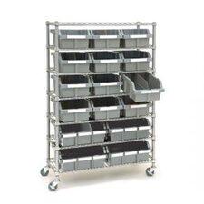 "14"" Deep Commercial 7 Shelf Bin Rack Storage System"