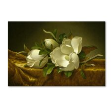 'Magnolias On Gold Velvet Cloth' Print on Wrapped Canvas