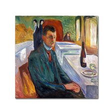 'Selfportrait With Bottle Of Wine' by Edvard Munch Print on Wrapped Canvas