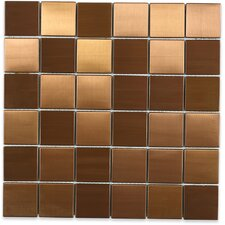 """Stainless Steel 2"""" x 2"""" Metal Mosaic Tile in Brushed Copper"""