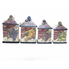 Wine Cellar by Tre Studios 4-Piece Kitchen Canister Set