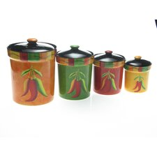 Caliente by Joy Hall 4-Piece Kitchen Canister Set