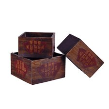 Chinese Wood Planter Box (Set of 3)
