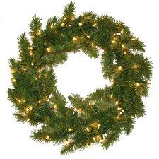 Evergreen Fir Wreath with 100 Clear Indoor/Outdoor Lights