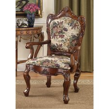 Emily Dickinson Floral Jacquard Fabric Arm Chair by Design Toscano
