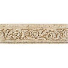 """Fashion Accents 13"""" x 4"""" Romanesque Decorative Listello in Flora Travertine"""