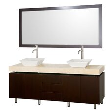 Malibu 72 Double Bathroom Vanity Set with Mirror by Wyndham Collection