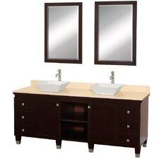 Premiere 72 Double Espresso Bathroom Vanity Set with Mirror by Wyndham Collection