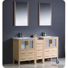 Torino 60 Double Modern Sink Bathroom Vanity Set with Mirror by Fresca