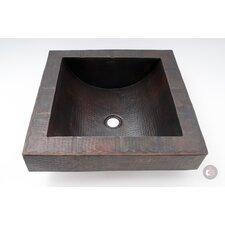 Square Apron Hammered Copper Self Rimming Bathroom Sink