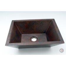 Double Wall Hammered Copper Rectangular Vessel Bathroom Sink