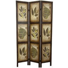 "Glenway 71"" x 42"" Double Sided Botanic Printed 3 Panel Room Divider"