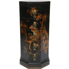 Lacquer Hexagonal 5 Drawer Chest by Oriental Furniture