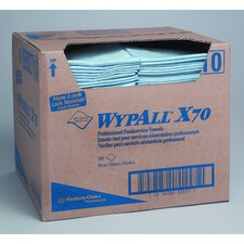 Wypall X70 Foodservice Towels quarter fold in Blue