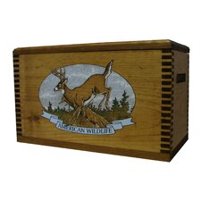 """Wooden Accessory Box With """"Wildlife Series"""" Whitetail Deer Print"""