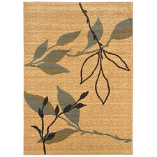 Opulence Cream/Blue Leaf and Sprig Design Area Rug