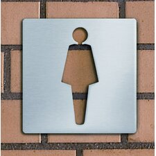"Piktogramm quadratisch selbstklebend ""Damen"" aus Edelstahl V4A"