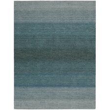 Linear Glow Hand-Woven Watercolor Aqua Area Rug