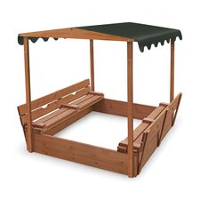 Deluxe Covered Convertible Cedar 4' Rectangular Sandbox with Two Bench Seats