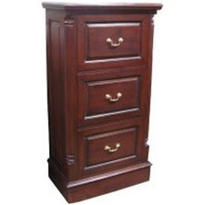 Mahogany 3-Drawer Mobile Vertical Filing Cabinet