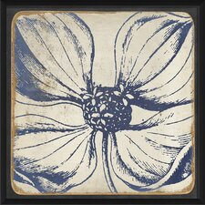 Vintage Flower Framed Painting Print in Blue
