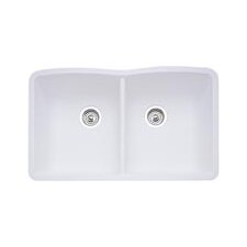 diamond 32 x 1925 equal double bowl undermount kitchen sink - White Kitchen Sink