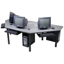 96'' W Height Adjustable Computer Table with Keyboard Tray