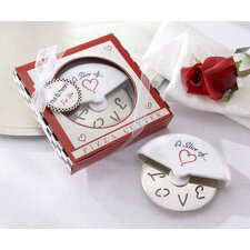 ''A Slice of Love'' Pizza Cutter in Miniature Pizza Box (Set of 10)