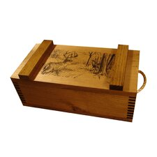 Wooden Crate with Deer Print