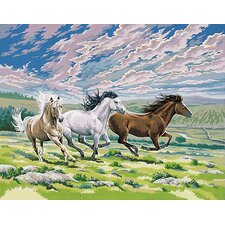 Paint By Numbers Large Galloping Horses Painting