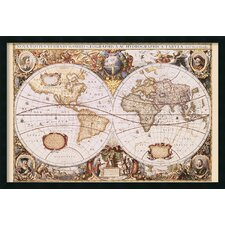 map of the world by henricus hondius framed graphic art