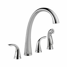 Pilar Double Handle Standard Kitchen Faucet with Spray