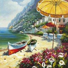 Revealed Artwork European Shoreline Painting on Wrapped Canvas