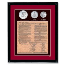 U.S. Constitution with All 3 Bicentennial Framed Memorabilia