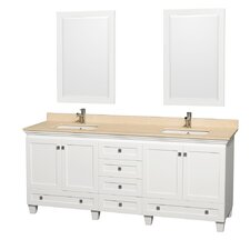 Acclaim 80 Double White Bathroom Vanity Set with Mirror by Wyndham Collection