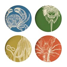 "Sea Life 4 Piece 11"" Melamine Dinner Plate Set (Set of 4)"