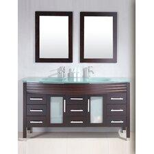 Modern 63 Double Bathroom Vanity Set with Mirror by Cambridge Plumbing
