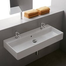 "Teorema Ceramic 39"" Wall Mounted Sink with Overflow"