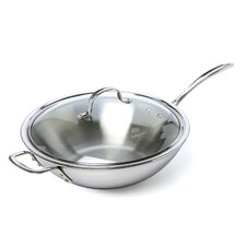 """Tri-Ply Stainless Steel 12"""" Frying Pan with Lid"""