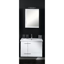 Simple 32 Single Wall Mounted Bathroom Vanity Set with Mirror by Iotti by Nameeks