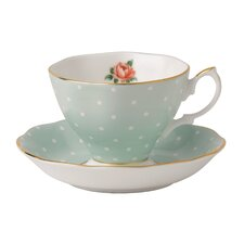 Polka Rose Formal Vintage Teacup and Saucer Set