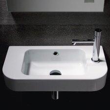 "Traccia Curved Ceramic Semi-Recessed 22"" Wall mount Bathroom Sink"
